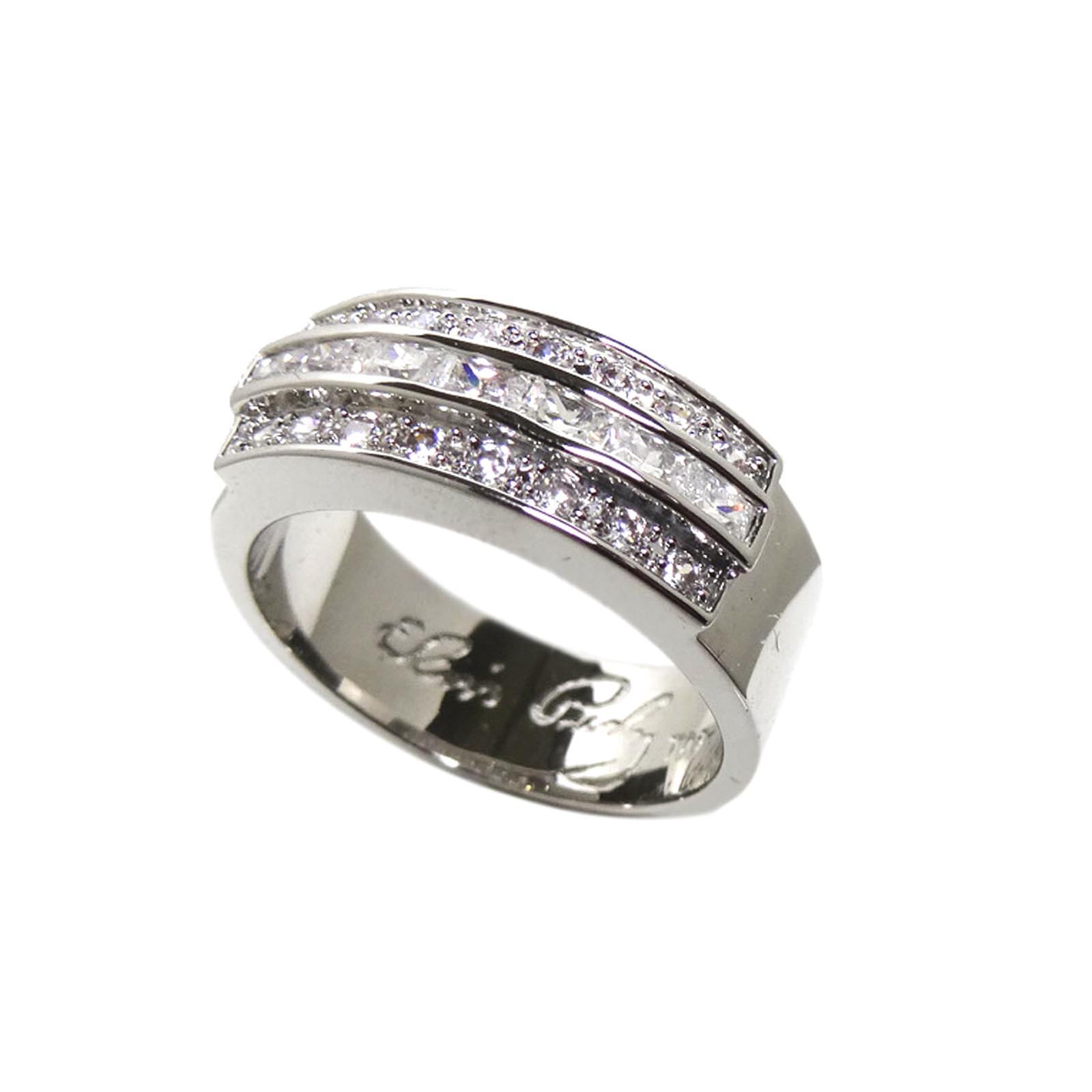 Wedding Ring Solid Silver With Swarovski Crystals
